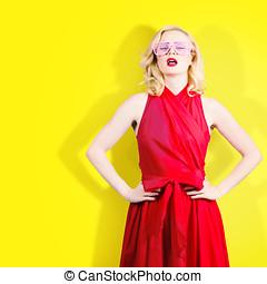 Retro fashion model girl in bright summer glasses - Unusual...