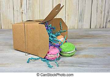 macaroons in takeout box - Colorful French macaroons...