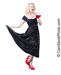 Party woman in a black sequin dress over white - Party woman...