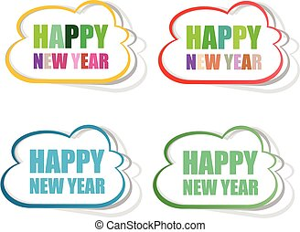 Vector Happy New Year stickers set isolated on white