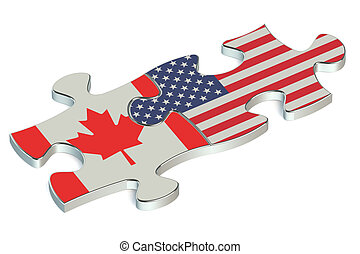 USA and Canada puzzles from flags