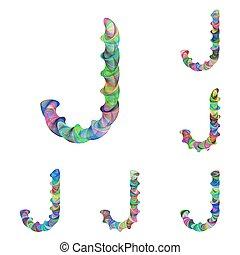 Colorful ellipse fractal font - letter J - Colorful ellipse...