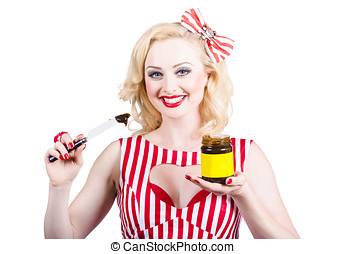Australian pinup woman holding sandwich spread - Cute retro...