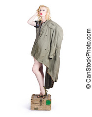 Beautiful military pinup girl. Classic beauty - Beautiful...