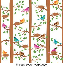 pattern with birds and trees
