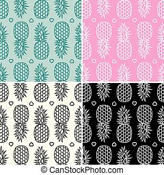 vector collection of seamless repeating pineapple patterns