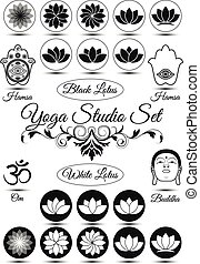 Set of black yoga studio elements