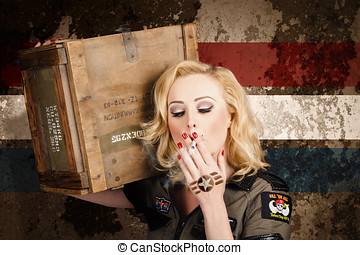 Female pin-up solider smoking cigarette ration - Sexy female...