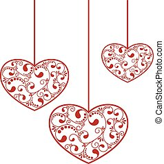 ornamental red hearts