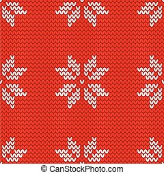 Tile red and white knitting vector pattern or winter...
