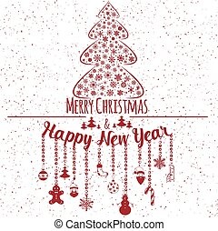 Happy New Year and Marry Christmas. Holiday card. Vector...