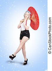 Smiling young woman model standing in summer rain - Beauty...