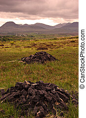 Connemara - turf harvesting in Connemara, CoGalway, Ireland...