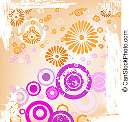 decorative design with flowers and circles