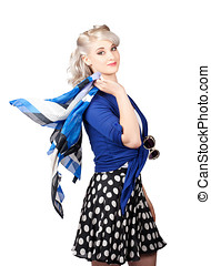 Isolated caucasian woman with pinup fashion style