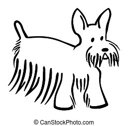 Scottie Dog - vector line drawing of a scottish terrier