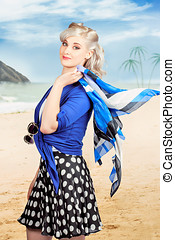 Young retro woman on a tropical beach vacation - Young...