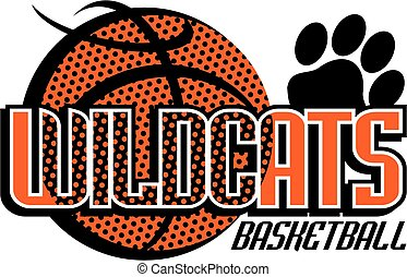 wildcats basketball team design with paw print for school,...