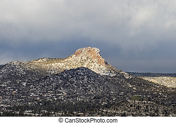 Thumb Butte Prescott Arizona - a winter landscape of thumb...