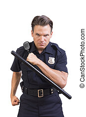Aggressive police officer - Handsome serious Caucasian...