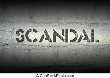 scandal pr - scandal stencil print on the grunge white brick...