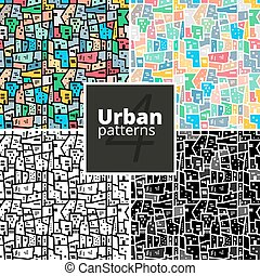 Set of urban patterns. Vector textures. - Set of urban...