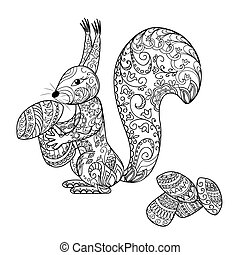 doodle cartoon squirrel and mushroo - Hand drawn decorated...