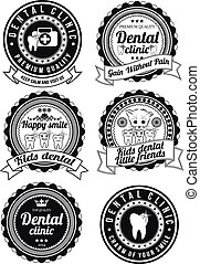 Set of round badges for dental clinic