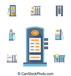 Refuel station flat color vector icons set - Vector...