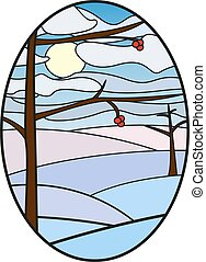 stained glass window illustration, winter glass painting