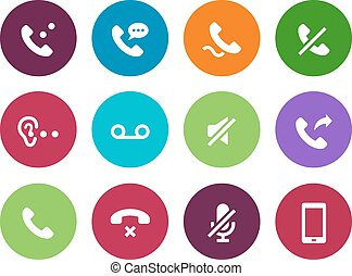 Telephone handset circle icons on white background.