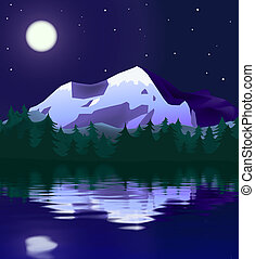 mountain landscape in moon light