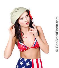 varm, Pinuppa, amerikan, rökning, militär, flicka