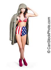 här,  Stripes, flicka, amerikan, Stjärnor, utvikningsbrud, hälsning