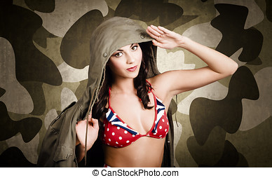 Sexy vintage army girl saluting in general class on army...