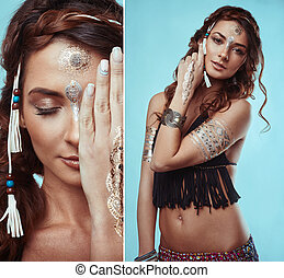 Portrait of beautiful swag young hippie woman - Portrait of...