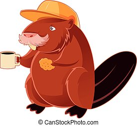Beaver and the cup of coffee - Vector image of a Beaver and...