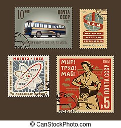 Postage stamps 1 - Set of vintage vector old-style soviet...
