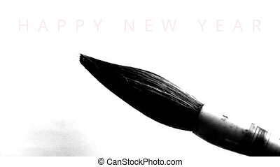Happy New Year 2016 in english - writing calligraphy with a...