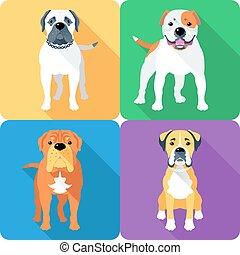 Set dog head icon flat design - Vector dog Bullmastiff,...