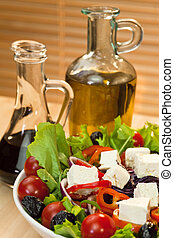 Fresh Feta Cheese Salad With Olive Oil and Balsamic Vinegar...