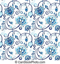Floral seamless pattern in slavic theme - Floral vector...