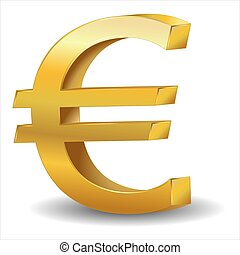 Metallic euro sign isolated on white background, vector
