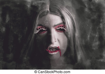 Sinister portrait of scary vampire woman with bloody mouth...