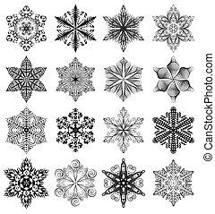 Snowflake black set - Snowflake set, black ornaments...