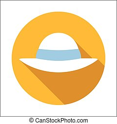 Beach hat flat icon isolated on white background