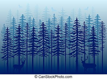Blue winter forest, vector - Blue winter forest with fir...
