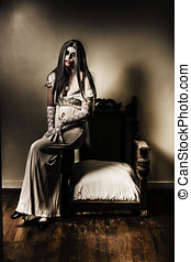 Evil vampire woman in old grunge haunted house - Evil horror...