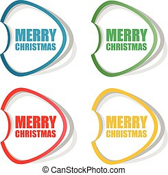 Vector Merry Christmas stickers set isolated on white