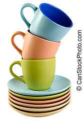 cups and dishes on a white background